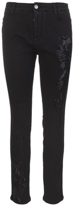 Ermanno Scervino Woman Black Jeans With Embroidery