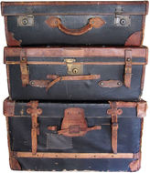 One Kings Lane Vintage 19th-C. English Leather Luggage, S/3
