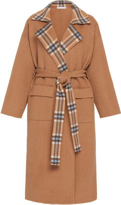 REJINA PYO Meryl Convertible Paneled Checked Wool-Blend Coat Size: S