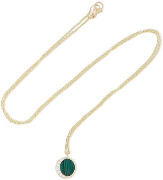 Pamela Love Reversible Moon Phase 18-karat Gold Diamond And Malachite Necklace