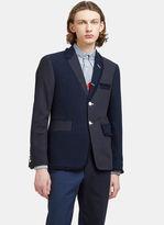 Thom Browne Men's Tweed Patchwork Blazer Jacket in Navy