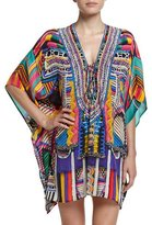 Camilla Embellished Lace-Up Silk Caftan Coverup, Woven Wonderland