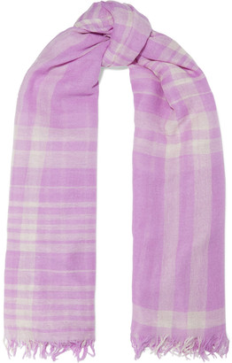 Chan Luu Frayed Checked Cashmere And Silk-blend Scarf