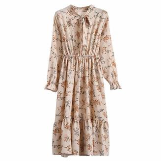 LOPILY 2019 Tunic Dress Crew Neck Long Sleeve Ball Gown Sequin Knee Length Slim Dress Flattering Floral Print Evening DressesBeigeUK: 14/CN:XL