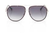 Balenciaga Leather Trim Aviator Sunglasses