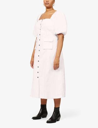 Ganni Puff-sleeve stretch-cotton midi dress