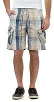 Mantaray Beige Check Print Cargo Shorts
