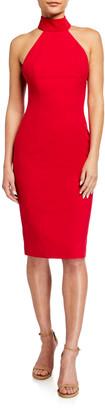 Jay Godfrey Soori Cutout Back Stretch Crepe Halter Dress