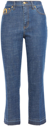 Tory Burch Appliqued High-rise Kick-flare Jeans