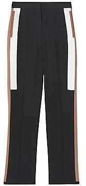 Burberry Women's Side Stripe Wool Straight-Leg Trousers