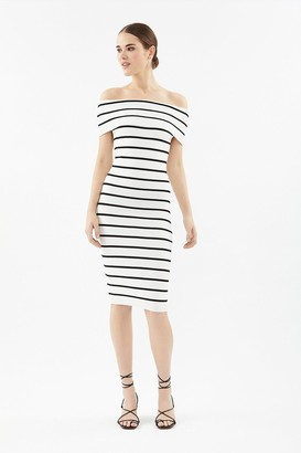 Coast Stripe Knit Bardot Dress