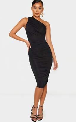 PrettyLittleThing Black Slinky Ruched One Shoulder Longline Midi Dress