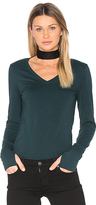 Michael Stars Thumbhole V Neck in Green.