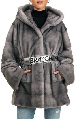 Mink Fur Jacket With Hood & Belt