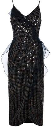 Diana Arno Carine Sequin Wrap Midi Dress
