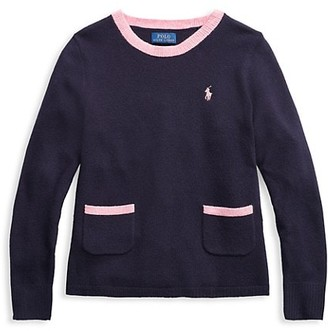 Ralph Lauren Little Girl's & Girl's Pleated Merino Wool Sweater