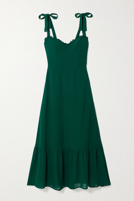 Reformation Nikita Chiffon-trimmed Ruffled Georgette Midi Dress - Forest green