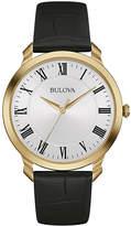 Bulova Classic Mens Black Leather Strap Watch 97A123