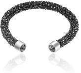 Bliss 18k White Gold Wrapped Black Crystal Open Cuff Bangle.