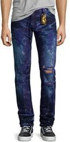 Robin's Jeans Bleached & Distressed Zipper Jeans, Dark Purple