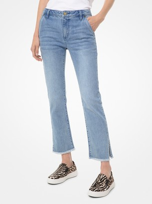 MICHAEL Michael Kors Stretch Denim High-Rise Split-Hem Jeans