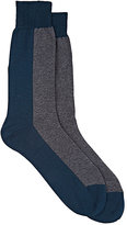 Brioni Men's Colorblocked Trouser Socks-BLUE, GREY