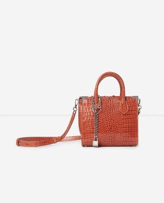 The Kooples Ming medium red croc-print bag in leather