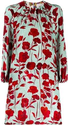 La DoubleJ Floral Print Velvet Mini Dress