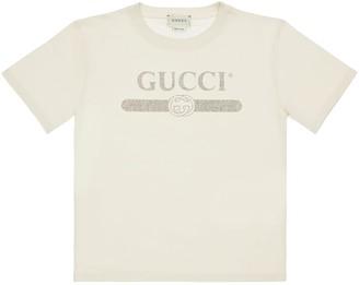 Gucci Logo Vintage Print Cotton Jersey T-shirt