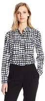 Jones New York Women's Plaid Printed 2-Pckt Buttondown Blouse
