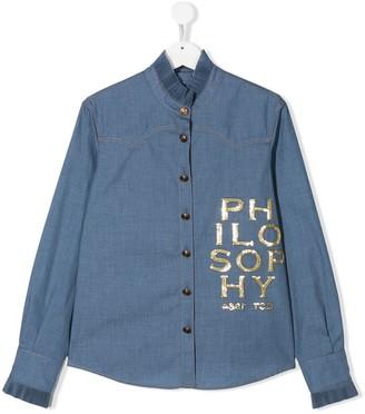 Philosophy Di Lorenzo Serafini Kids TEEN sequinned-logo denim shirt