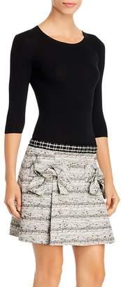 Paule Ka Mixed-Media Bow-Detail Mini Dress