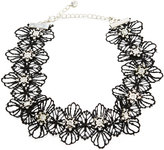 Lydell NYC Black Floral Lace Choker Necklace w/ Crystal Embellishment