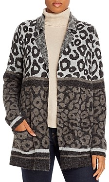 Joseph A Plus Leopard Block Open Cardigan