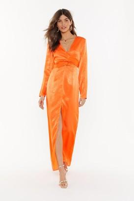 Nasty Gal Womens Maxi Tie Waist Plunge Dress - orange - 6