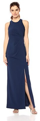 Laundry by Shelli Segal Women's Sleeveless Side Pleated Crepe Gown