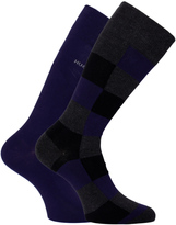 Boss 2 Pack Purple Square Pattern Soft Cotton Socks