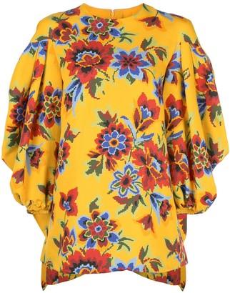 Carolina Herrera Floral Print Belted Dress