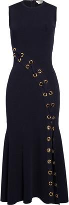 Alexander McQueen Grommet Rib Midi Sweater Dress