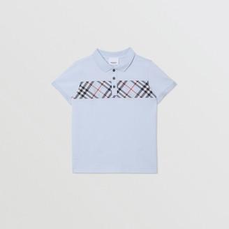 Burberry Childrens Check Panel Cotton Polo Shirt