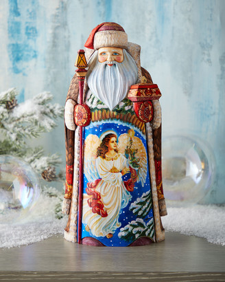 G Debrekht Lighting the Holidays Wood-Carved Santa, Limited Edition in Wooden Chest