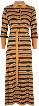Chloé Striped Ribbed Wool-blend Midi Dress
