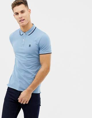 Selected polo with tipping-Blue