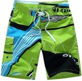 YOUJIA Men's Board Shorts Casual Striped Beach Shorts Swim Trunk (Green, M)