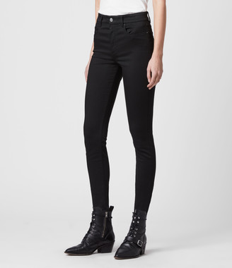 AllSaints Miller Mid-Rise Superstretch Skinny Jeans, Stay Black