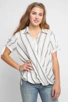 Blank Me & You Stripe Surplice Button Down Shirt