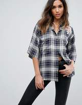 Diesel Check Shirt with Denim Collar and Embroidery