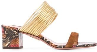 Aquazzura Rendez Vous snakeskin-effect sandals