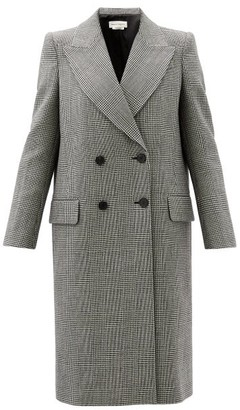 Alexander McQueen Prince-of-wales-check Double-breasted Wool Coat - Grey