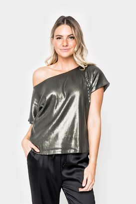 Gibson Hello Happiness Sequin Off Shoulder Tee